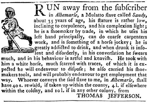 Thomas Jefferson's wanted ad for a runaway slave.